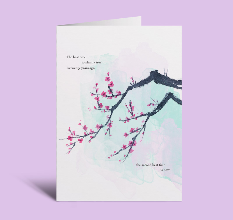 Arbor Day gift a tree card, a plum tree with Chinese proverb